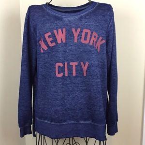 Zoe + Liv Blue Fleece NYC Sweatshirt
